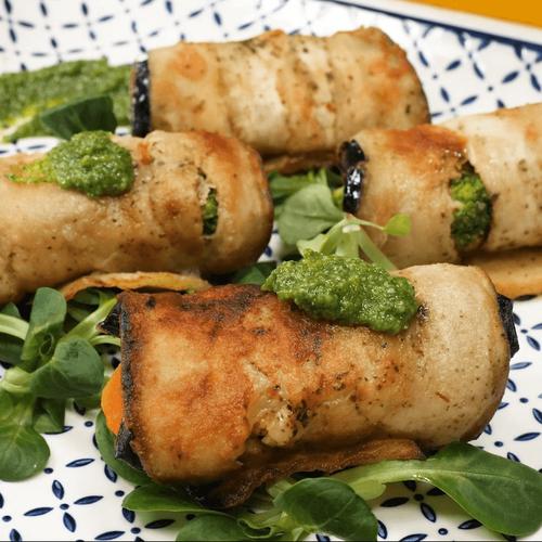 Баклажановые роллы с овощами