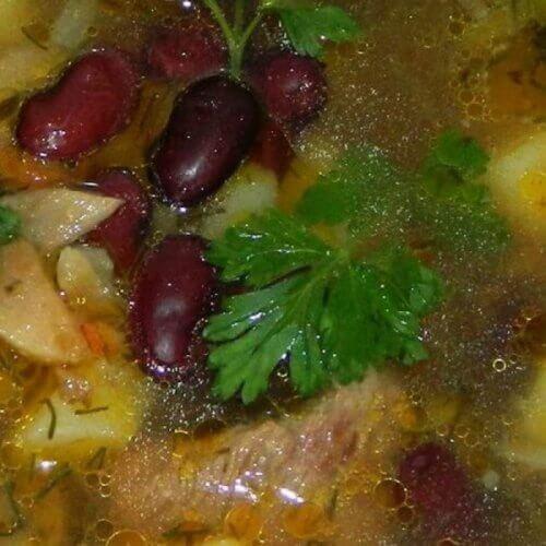 """Суп с красной фасолью и грибами """"Сытый папа"""""""