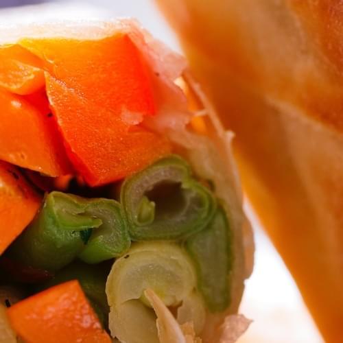 Весенние конвертики с зеленой и желтой фасолью