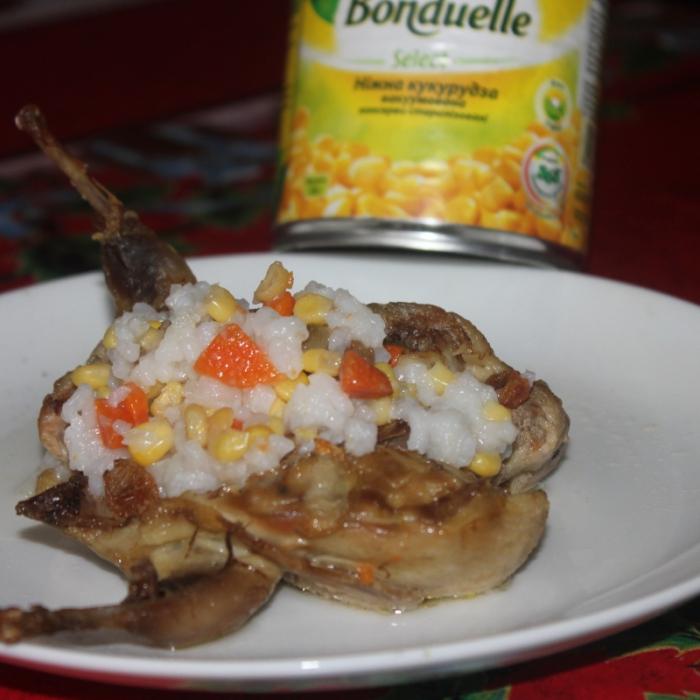 Перепел, фаршированный рисом и овощами
